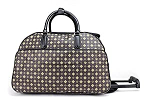 Designer Style Wheeled Holdall Handle Trolley Cabin Travel Luggage Weekend Bag