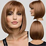 Miss Kiss Hair Straight Blonde Bob Wigs for women with No Lace Machine Made Short Fashion with Cap Synthetic Wigs for White Women Heat Resistant Hair Wig Material with Elastic String and Combs