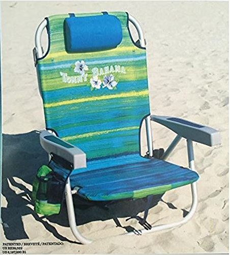Tommy Bahama 2016 Backpack Cooler Chair with Storage Pouch and Towel Bar ( Green/Blue Stripe) (Beach Backpack Cooler compare prices)