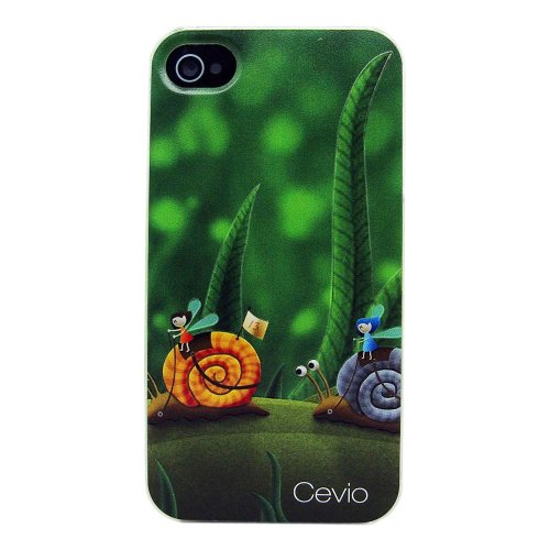 2013 New Type (Laser Color Carving) Case for Iphone 4, Iphone 4s, Protective Skins, Carrying Cases, Ultra Thin and Strong Case+ Protective Film (Happy snail)