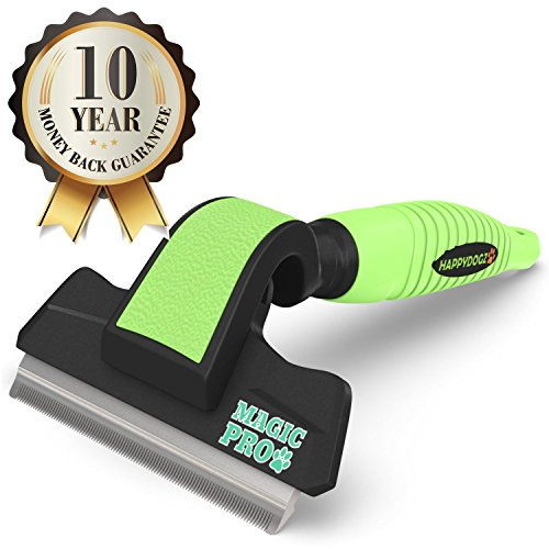 One Of The Best Deshedding Tools To Easily Remove Shed Dog Hair - 60% Off Retail Price - The Magic Pro Dog Deshedding Tool Reduces Shedding By Up To 95% -Unique Shedding Blade is Gentle On Your Dog's Skin -10 Year Money Back Guarantee