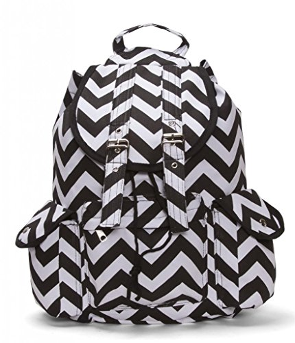 Chevron Print Rucksack Style Backpack - Black/White
