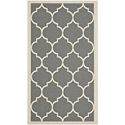 Safavieh Courtyard Collection CY6914-246 Anthracite and Beige Indoor/ Outdoor Area Rug, 2 feet by 3 feet 7 inches (2\' x 3\'7\