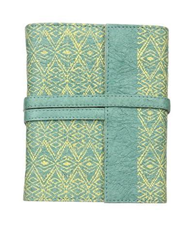Marina Vaptzarov Medium Printed Vegetal Leather Cover Travel Diary, Pale Blue/Green