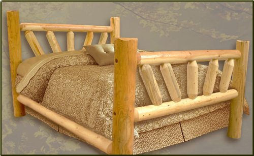 Queen Size Pine Sunburst Log Bed