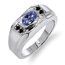 buy 1.73 Ct Blue Mystic Topaz Black Diamond 925 Sterling Silver Men'S Ring