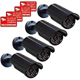 VideoSecu 4 x Dummy Security Camera Fake Bullet Cameras Infrared LEDs Flashing Light Home CCTV Surveillance 1QU