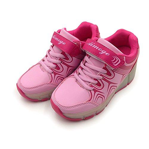 (ディフレコ) Difreco 【 光る 靴 で 足元 を 華やか に 演出 する 】 キッズ 子ども ジュニア 男 女 兼用 アウトドア シューズ LED ローラー スニーカー (ピンク(19.5cm))