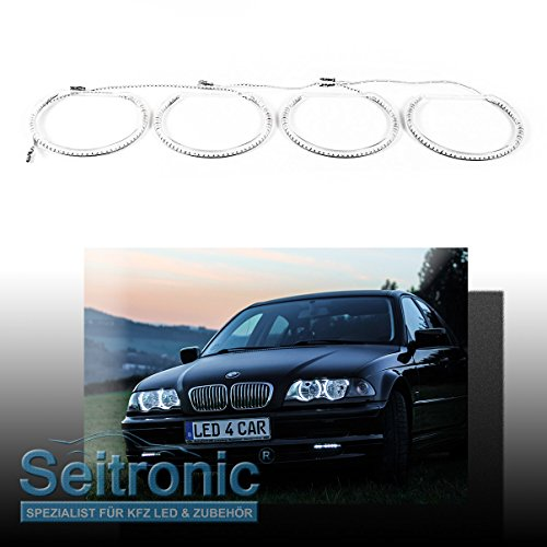 seitronic 4x smd led angel eyes mit xenon scheinwerfer standlicht ringe smd e46 xenon led4car. Black Bedroom Furniture Sets. Home Design Ideas
