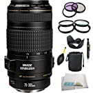 Canon EF 70-300mm f/4-5.6 IS USM Lens with SSE Accessery Bundle which includes 4 Piece Close Up Marco Lens Set, 3 Piece Multi-Coated Filter Kit, Tulip Lens Hood, Lens Cap Keeper, Lens Cleaning Pen, Lens Blower, Lens Pouch and SSE Microfiber Cleaning Cloth