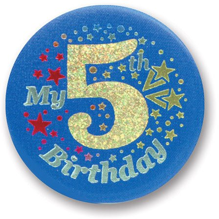 "My 5th Birthday Satin Button (Blue) 2"" Party Accessory"