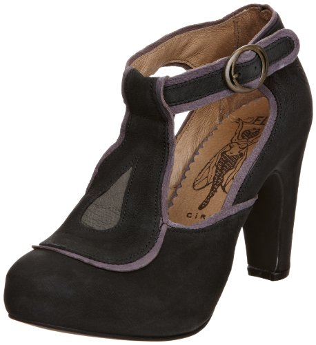 Fly London Women's Fifa Leather Suede Black/Grey/Lilla T Straps Heels P141751008 8 UK