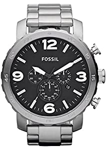 Black Nate Chronograph Stainless Steel Watch by Fossil