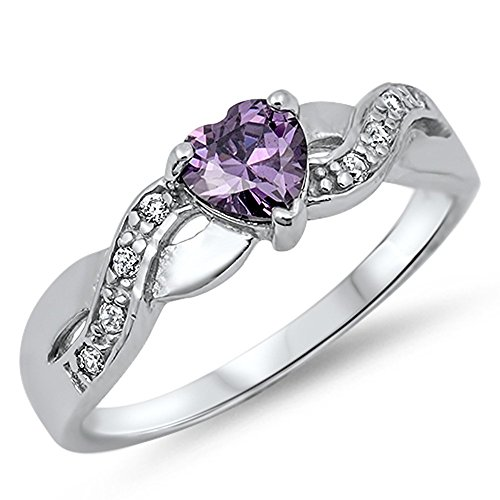 Heart Simulated Amethyst Infinity Knot Promise Ring New .925 Sterling Silver Size 5 (RNG14453-5)