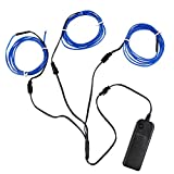 ESUMIC Electroluminescent Wire (EL Wire) Splitter 3 X 1.5 Metres Neon Light Set (Blue)