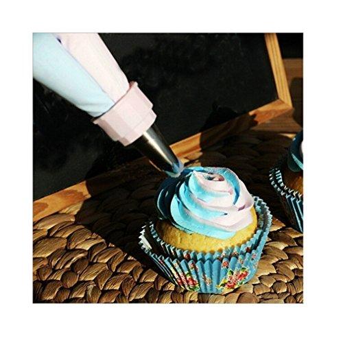 Smart & Fun colorswirl Duo Couleur Coupleur à pâtisserie Sac Sac piple Double avec douilles de glaçage pour gâteau désert DIY Décoration outil