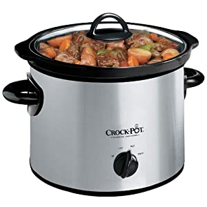 Crock-Pot SCR300SS 3-Quart Round Manual Slow Cooker, Stainless Steel