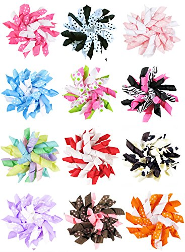 "HipGirl Boutique 12pc Set 2.5"" Grosgrain Ribbon Korker Hair Bow Clips - One Size"
