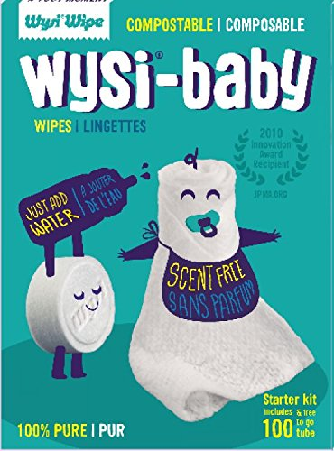 Wysi Baby Starter Kit 100 Biodegradable Wipes and Travel Tube - On the Go! Anytime! Just Add Water!