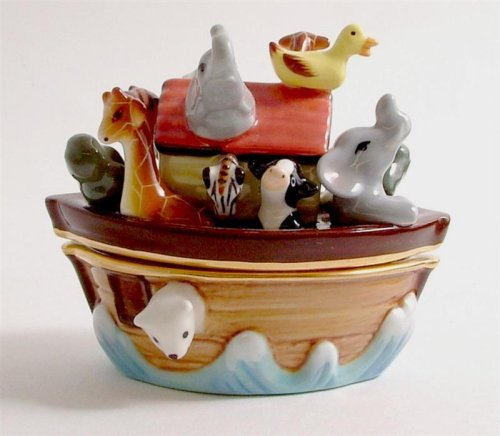 Noah's Ark porcelain box with surprise bird or duck inside