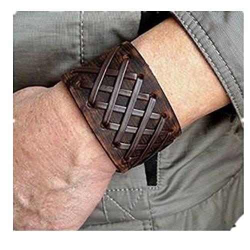 Original Tribe Uomo d'epoca in pelle marrone braccialetto del polsino, cuoio fascia di polso del Wristband gioielli artigianali SL2259