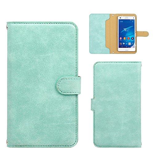 スマホケース 手帳型 全機種対応 サイズ スエード カード収納 ストラップホール付き / ブルー