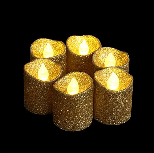 Gold Glitter LED Votive Candle Flameless Tealight Candle Battery Powered For Wedding Christmas Party Celebration 12pcs