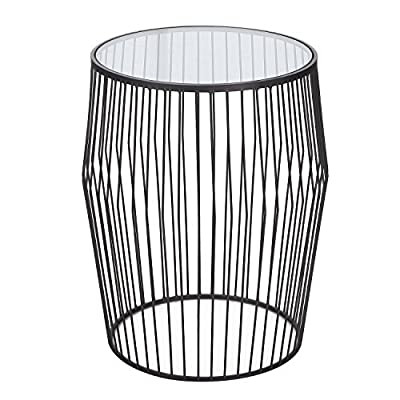 ELEGAN Modern Drum Shape Metal Side End Table with Glass Top
