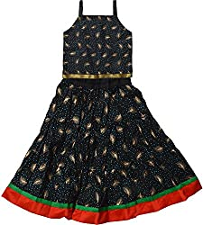 Magnus Girls Leaf Print Lehenga Choli Suit (KID110, Black, 3-4 Years)