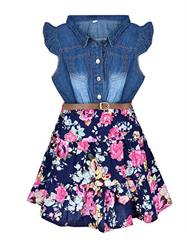 YJ.GWL Girls Dress Fashion Denim Floral Dress (blue,160) (10 Year Old Girl Clothes compare prices)