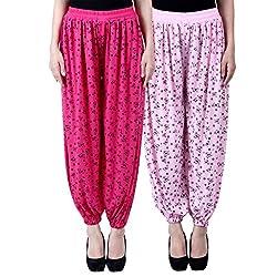 NumBrave Printed Viscose Pink & Light pink Harem Pants (Pack of 2)