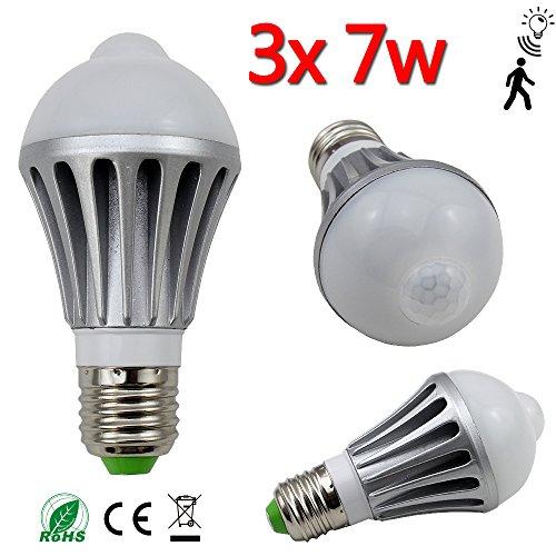 3x 7W E27 LED Birne Sensor Lampe mit Bewegungsmelder PIR Dämmerungssensor Treppen Bulb AC85-265V 700LM