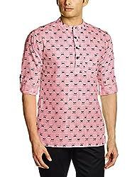 Svanik Men's Mid Thigh Cotton Kurta (SVCK1570_Large_Red)
