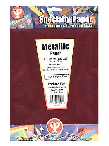 Hygloss Metallic Foil Paper 8.5 in. x 11 in. pack of 16 (8 gold, 8 silver)