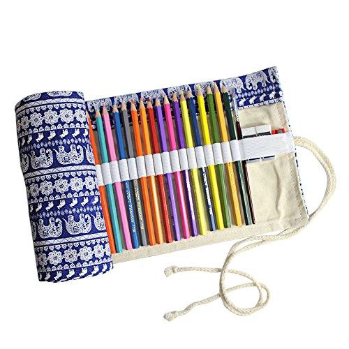 Taotree Stifterolle für 72 Buntstifte und Bleistifte, aus Canvas, Stifteetui Roll-up für Künstler, Mehrzwecktasche für Reisen / Schule / Büro / Kunst (Anmerkung: ohne Farbstifte) (Thai Style)