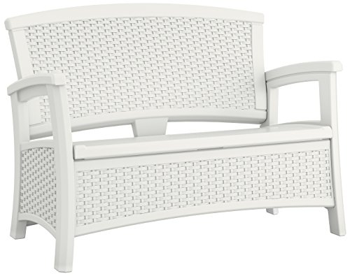 Suncast ELEMENTS Loveseat with Storage, White (White Wicker Resin Chair compare prices)