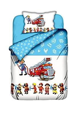 Aminata-Kids süße Jungen Kinder-Bettwäsche Feuerwehrauto 100x135 cm Feuerwehrmann hochwertige Baumwolle Bettwäsche-Feuerwehrmann Wendebettwäsche hellblau Feuerwehrmänner Feuerwehr