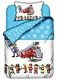 Aminata Kids - Kinderbettwäsche Feuerwehr 100x135 Baumwolle Bettwäsche mit Feuerwehrauto und Feuerwehrmann