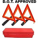 Warning Triangles Emergency Roadside Folding Triangle Reflectors (D.O.T. Approved)