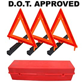 Warning Triangles Emergency Roadside Folding Triangle Reflectors (D.O.T. Approved)