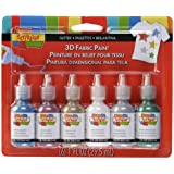 Scribbles 3D Fabric Paint 6 Packs- Glitter