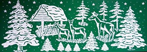 """6 er SET RETRO KULT """" WALD LANDSCHAFT REH HIRSCH"""" 30, 5 x 11, 5 cm groß selbstklebende , Fensterdekoration Fensterbild, Fensterfolie MADE IN GERMANY, Weihnachtsdekoration, Schaufenster In- und Outdoor , Kinderzimmer, Winter Basteln Spielen Kleben, Bunte Klebebilder für das Fenster Sticker, Weihnachten Rentier Tannenbaum Geschenke Weihnachtskalender Nikolaus Engel Christmas Schneemann"""
