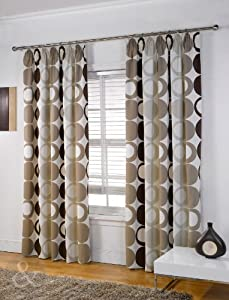 Pleat lined curtain natural cream beige chocolate brown curtain