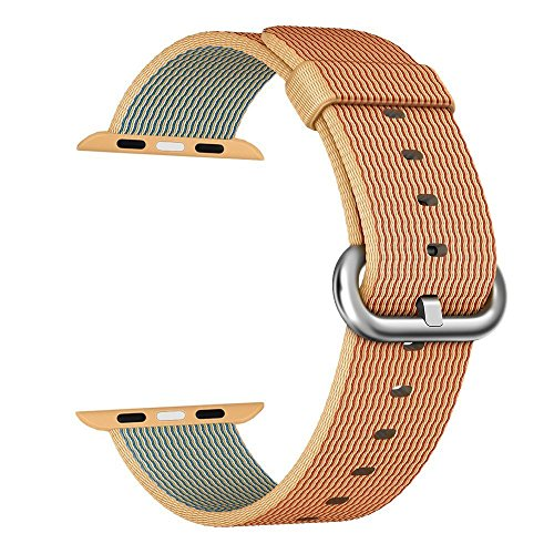 Apple Watch cinturino ,PUGO TOP Woven Nylon Replacement Wrist cinturino Bracelet Strap for Apple Watch/Apple Watch Series 2 (42mm , Oro+ Rosso )