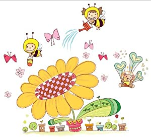 OneHouse Cartoon Sunflower with Bees and Flowers DIY Wall Decal Nursery Room Wall Decor by OneHouse