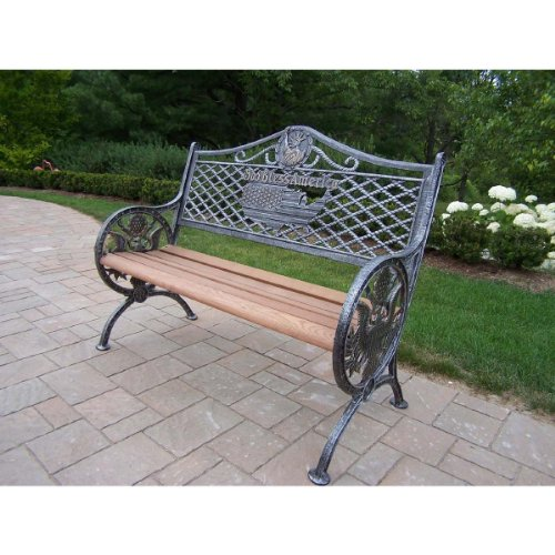 Oakland Living God Bless America Bench, Rust Free Cast Iron Finish