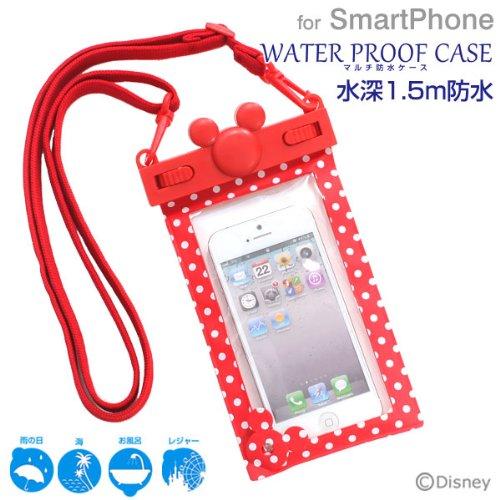 ディズニー Disney キャラクター WATERPROOF 防水ケース 防水ポーチ スマートフォン iPhone5 iPhone iPod 対応 (レッド/ドット)