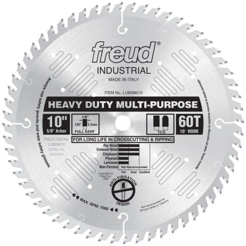 Freud LU82M010 10-Inch 60 Tooth TCG Crosscutting and Ripping Saw Blade with 5/8-Inch Arbor (Table Saw Blades 12 compare prices)