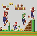 Super Mario Bros Wall Decal Decor Peel&Stick Nursery playroom mural for Boys Kids Baby Bedroom Wallpaper Birthday gift
