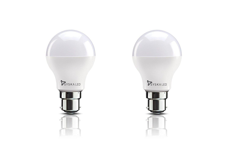 Night lamps india - Syska Base B22 8 Watt Led Bulb Pack Of 2 Cool Day Light